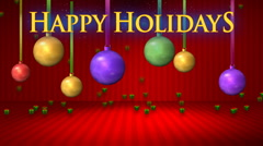 Red Stage with Happy Holidays HD Stock Footage