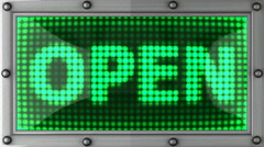 Open announcement on the LED display Stock Footage