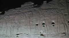 Karnak Temple Hieroglyphs Night Stock Footage