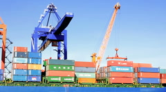 Containers on ship Stock Footage