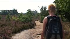 National Park de Sallandse Heuvelrug, walking women Stock Footage