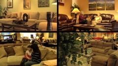 Furniture Store Multiscreen 1 Stock Footage