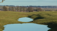 Vallum of Hadrian's Wall, World Heritage Site, flooded in winter Stock Footage