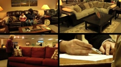 Furniture Store Multiscreen 4 Stock Footage