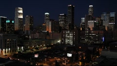 Downtown Los Angeles skyline at night, California, USA - stock footage