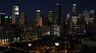 Stock Video Footage of Downtown Los Angeles skyline at night, California, USA 2014