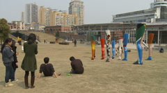 Shanghai Red Town Sculpture Park Stock Footage