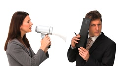Businesswoman giving orders through a megaphone Stock Footage