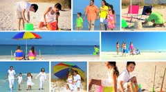 Montage of Happy Family Beach Vacations Stock Footage