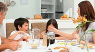 Family having a breakfast Stock Footage