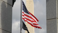 WWII Memorial US and POW Flag DC Stock Footage