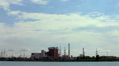 Nuclear complex near lake Stock Footage