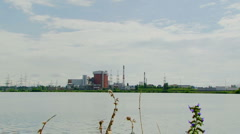 Polluting industries near the river Stock Footage