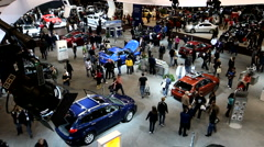 Overhead view of a busy public car show Stock Footage