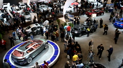 Overhead view of a busy public car show - stock footage