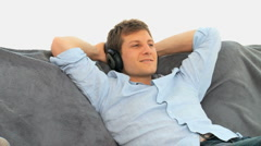 Relax man listening to music Stock Footage