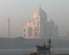 Boat on river at Taj Mahal Stock Footage