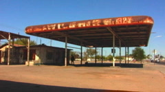 Old Gas Station In Desert Town Stock Footage