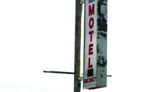 Rusty Old Cheap Fleabag Motel Sign Stock Footage