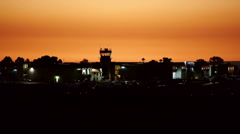 Airport Tower At Dusk Stock Footage