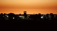 Stock Video Footage of Airport Tower At Dusk