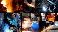 Stock Video Footage of Metal industry multiscreen