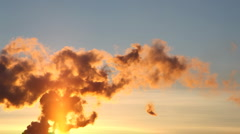 Smoke from pipe of termal power station at sunset Stock Footage