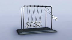 3D pendulum newton dollars and euros - stock footage