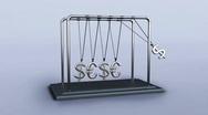 3D pendulum newton dollars and euros Stock Footage