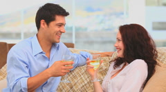 Lovely couple holding glasses of wine Stock Footage
