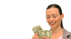 Good looking brunette holding her cash Stock Footage