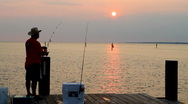 Sunset Fisherman Stock Footage