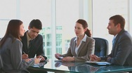 Coworkers during an important meeting Stock Footage