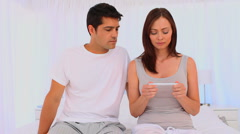 Happy couple after a pregnant test Stock Footage