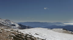 Snow sky clouds mountain range pyrenees landscape Stock Footage