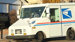 Mail Lady in Mail Truck Stock Footage
