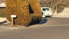 Mail Truck in Neighborhood Stock Footage