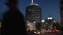 Capitol Records Time Lapse DaytoNight Stock Footage