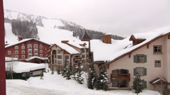 Ski Resort with snowfall and lifts Timelapse Stock Footage