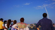 Spectators at Space Shuttle Discovery's final launch Stock Footage