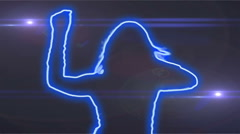 Ser-1 - neon outlined gogo dancer silhouette in blue with lens flares Stock Footage