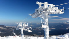 Ice-covered ski lift Stock Footage