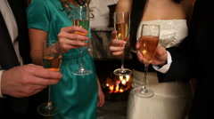 Champagne flutes - stock footage