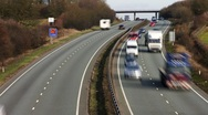 Stock Video Footage of Time lapse of traffic on the A14 dual carriageway Northamptonshire England