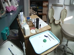 Various Quick Pans Across Dentist Working Area Stock Footage