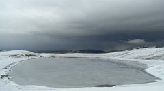 Devil's Lake under the snow in the national park Durmitor timelapse, Montenegro Stock Footage