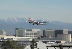 Airline Takeoff LAX 06 NTSC Stock Footage