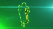 Ser-4 - neon outlined gogo dancer silhouette in green with lens flares Stock Footage