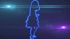 Ser-8 - neon outlined gogo dancer silhouette in blue with lens flares Stock Footage