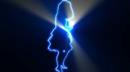 Ser-8 - neon outlined gogo dancer silhouette in blue with light rays Stock Footage